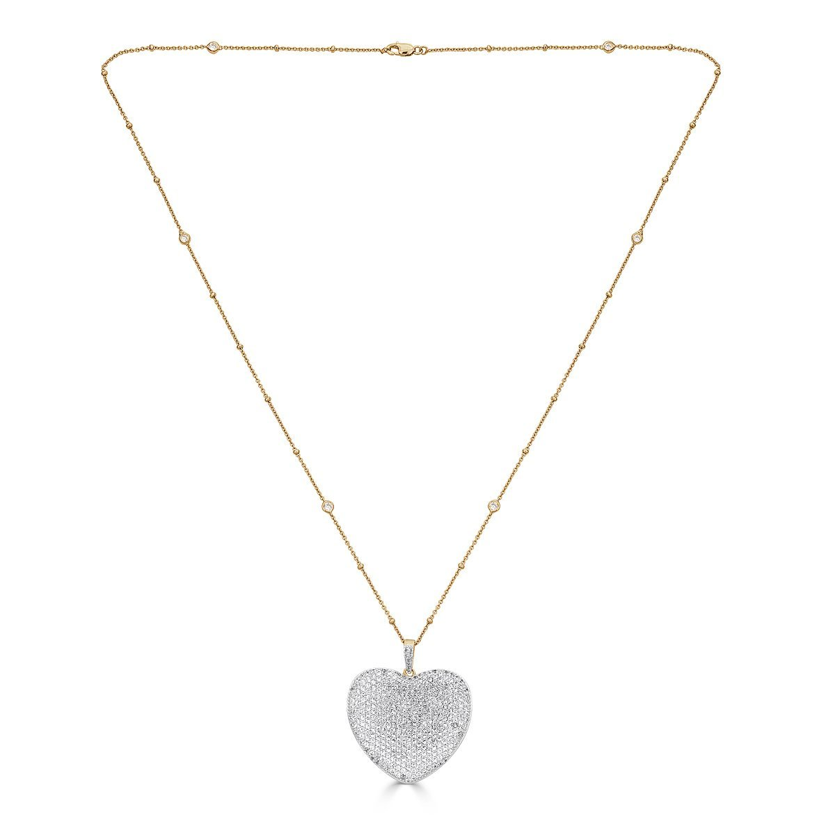 Gold Plated Sterling Silver Cubic Zirconia Pave Heart Necklace by Caratina