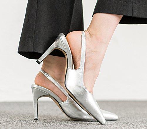 Annakastle Femmes Stiletto Talon Classique Pompes Slingback Robe Chaussures Argent