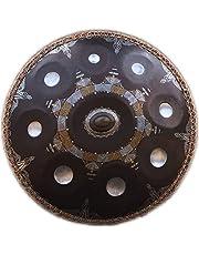 "Steel Tongue Drum, in D Minor 9 Notes Steel Drum + Soft Bag 22"" /56cm, 9 Notes (D3 A Bb C D E F G A), for Music and Sound Healing Religion Yoga Zen Tea, Gold Dish Shape Drum, Hand Drum"