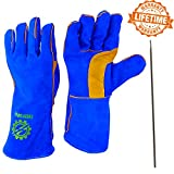 Welding Gloves 14'' for Arc, MIG and TIG Welders with 1 Steel Welding Rod - Heavy Duty Reinforced Kevlar Stitching, Extreme Heat Resistant Double Insulation, One Size - S, M, L, XL, XXL- Blue