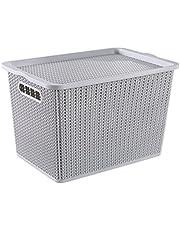 HOUZE SB-1526 Braided Storage Basket with Lid, Grey, Large