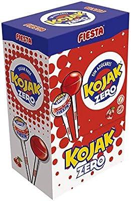 FIESTA Kojak Sin Azúcar Caramelo con Palo Sabor Cereza - Caja de 50 unidades