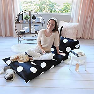 Floor Lounger Cover – Inflatable Air Bed, Floor Mattress or Bean Bag Chair Alternative. Black and White Polka Dot Pattern Makes it Fun and Stylish. Pillow Bed Cover Only!