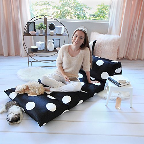 Heart to Heart Floor Lounger Cover – Inflatable Air Bed, Floor Mattress or Bean Bag Chair Alternative. Black and White Polka Dot Pattern Makes it Fun and Stylish. Pillow Bed Cover Only!