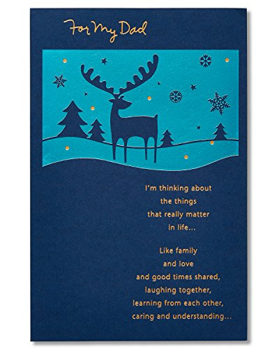 American Greetings Moose Christmas Card for Dad with Foil