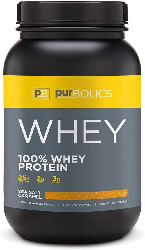 Purbolics Protein 100 Whey Protein Build Lean Muscle Improve Recovery 25g Protein 28 Servings Sea Salt Caramel