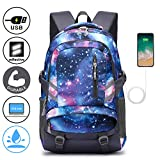 Folsons Laptop Backpack Lightweight School Backpack for Women Men Fits 15.6 inch Laptop, Travel Rucksack Casual Backpack with USB Charging Port (Galaxy)