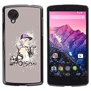 TopCaseStore / la caja del caucho duro de la cubierta de protección de la piel - Poison Quote Swag Skull Style Blonde Woman - LG Google Nexus 5 D820 D821
