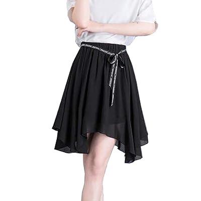Adelina Más El Tamaño De Las Falda De Mujeres Gasa De Moda Completi La Señora Elástico De La Cintura Punto Impreso Faldas Cortas Plisadas Falda De La Playa Acampanada: Ropa y accesorios