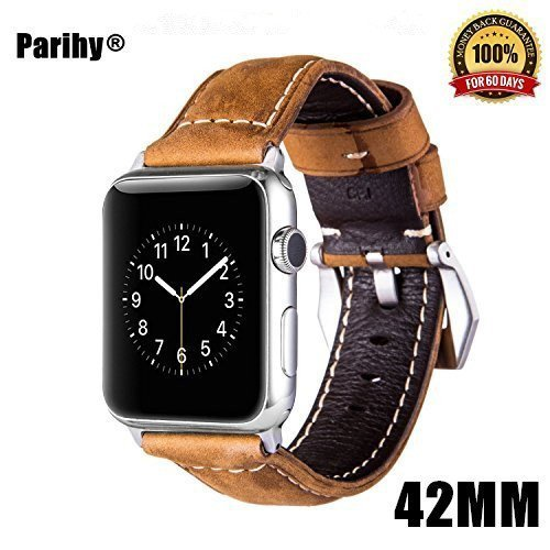 Apple Watch Bands 38mm Leather Strap with Gold Clasp