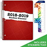 """Dated Middle School or High School Student Planner for Academic Year 2018-2019 (Matrix Style - 8.5""""x11"""" - Red Stripe Cover) - Bonus RULER / BOOKMARK and PLANNING STICKERS"""