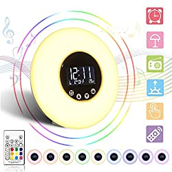 Alarm Clock Lamp,GLIME Wake up Light Remote Control Sunrise Simulation Digital Alarm Clock /FM Radio/ Night Light/Date/Temperature Colorful Illumination DC 5V Tap/Remote Control Kids Night Light