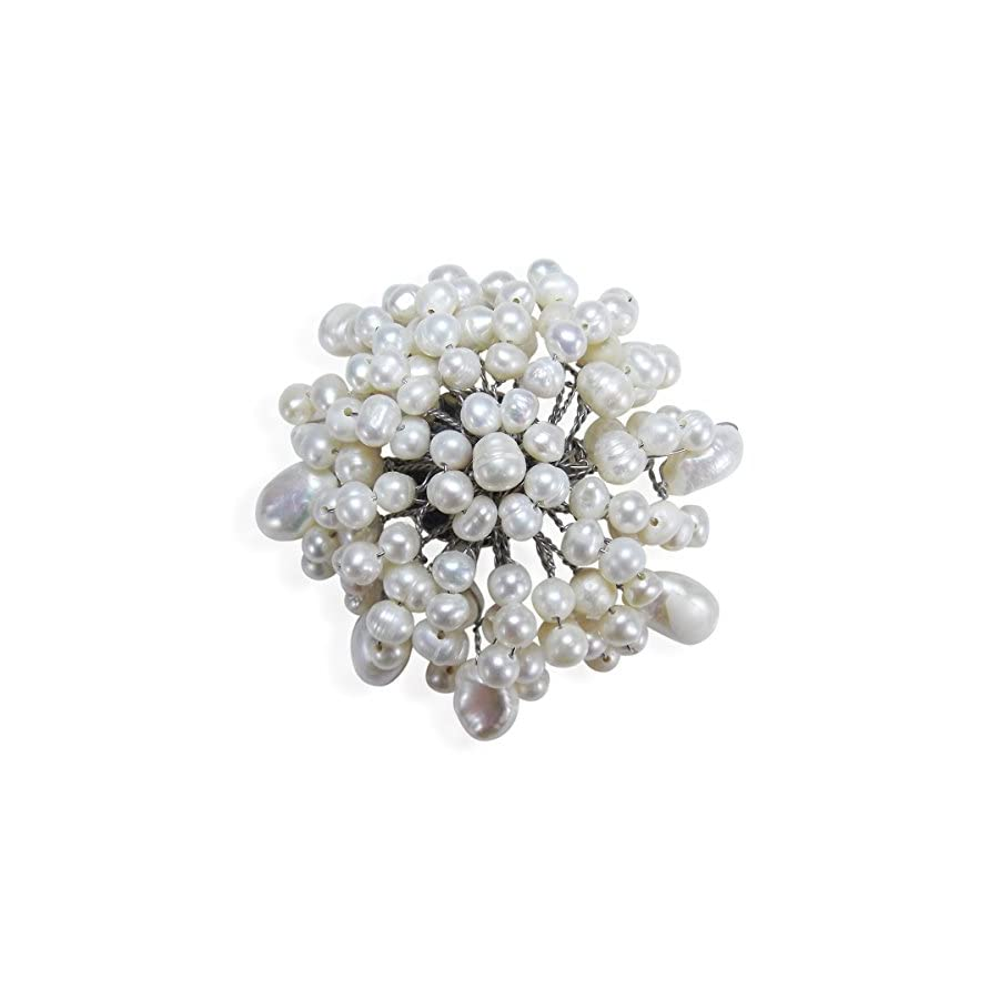 AeraVida White Chrysanthemum Cultured Freshwater White Pearl Floral Pin or Brooch