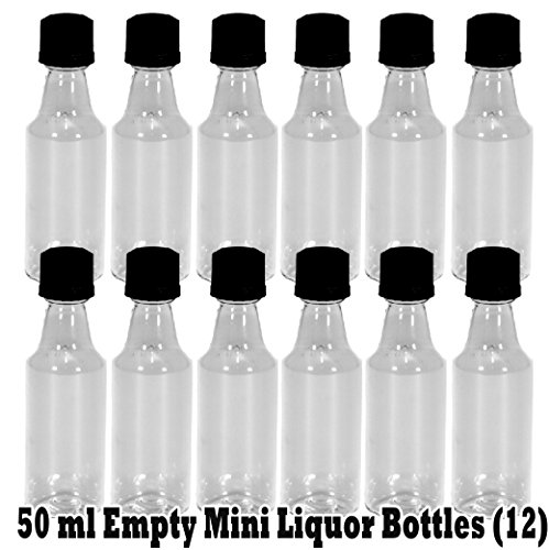 Mini ROUND Plastic Alcohol 50ml Liquor Bottle Shots + Black Caps (12 pcs) inside bag, NEW PACKAGING by Party Over Here