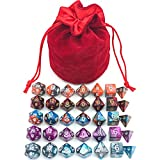 5 Assorted Colors Polyhedral Dice Set for Dungeons and Dragons DnD Pathfinder RPG Role Playing Games with Red Drawstring Dice Bag (Total 5 Sets)