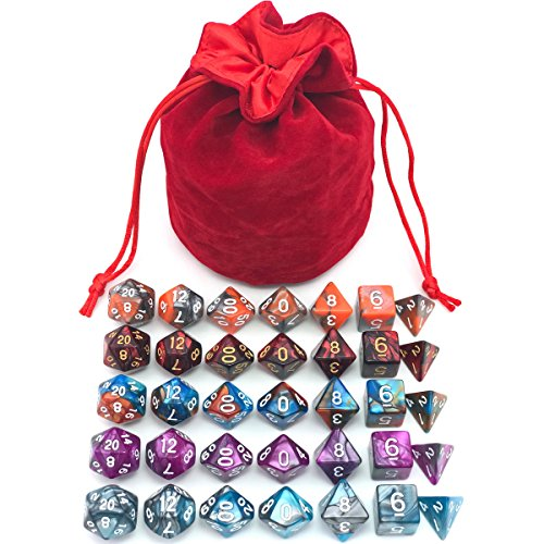 5 Assorted Colors Polyhedral Dice Set for Dungeons and Dragons DND Pathfinder RPG Role Playing Games with Red Drawstring Dice Bag (Total 5 Sets) (List Of Casino Games With Best Odds)