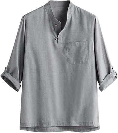 huichang - Camiseta de manga larga para hombre de algodón y ...