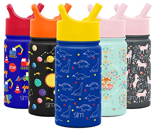 Simple Modern 14oz Summit Kids Water Bottle Thermos with Straw Lid - Dishwasher Safe Vacuum Insulated Double Wall Tumbler Travel Cup 18/8 Stainless Steel - Dinosaurs