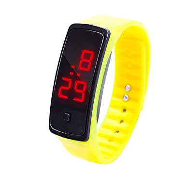Bestow Reloj de Pulsera con Pantalla Digital LED Reloj de Pulsera con Silicona Electrš®nico de Silicona Deportivo con Pantalla tš¢ctil(Amarillo): Amazon.es: ...