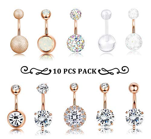 Finrezio 10 PCS 14G Surgical Steel Belly Button Ring Navel Ear Rings CZ Body Piercing Jewelry 10 mm/6 mm Bar (Rose Gold Tone, 10) (Inexpensive Belly Button Rings)