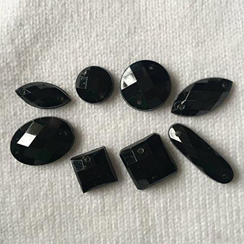CraftbuddyUS 80 Black Faceted Acrylic Sew On, Stick on Diamante Crystal Rhinestone Gems
