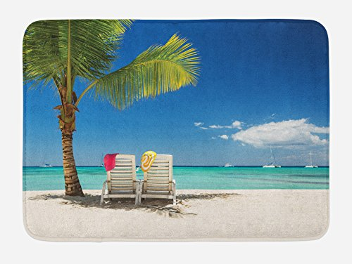 (Ambesonne Seaside Bath Mat, Relaxing Scene on Remote Beach with Palm Tree Chairs and Boats Panoramic Picture, Plush Bathroom Decor Mat with Non Slip Backing, 29.5 W X 17.5 L Inches, Blue Green)