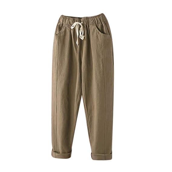 Pantalones de Lino harén para Mujer Otoño Invierno 2018 Moda PAOLIAN Casual  Pantalones Anchos Cintura Alta con Pretina Elástica Fiesta Palazzo  Pantalones ... 2576ee5f90e2
