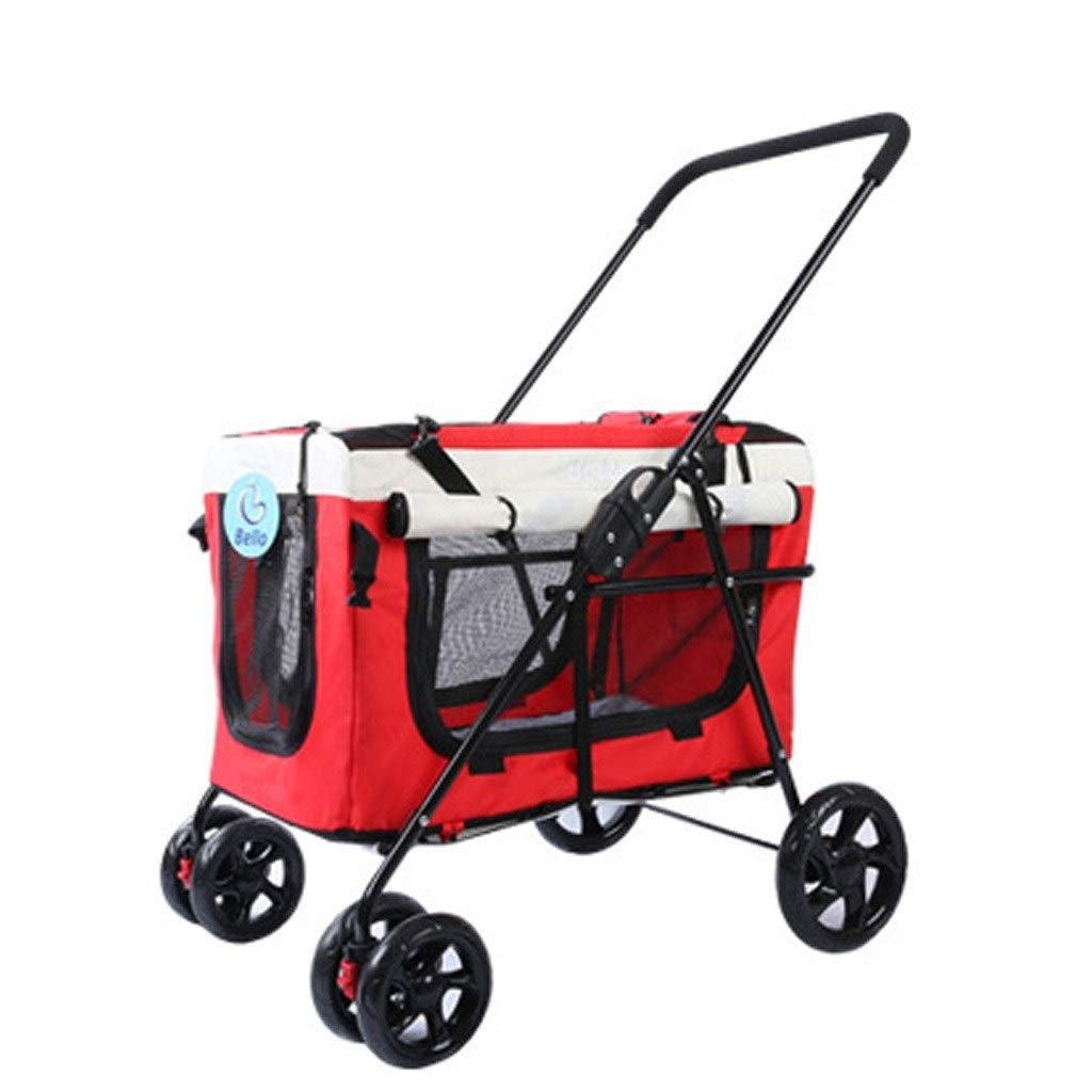 Strollers Pet Dog Pram Folding Pet Trolley Cat and Dog Four-Wheeled Outdoor Cart Dog Cat Wagon Disabled Dog Pushchair Can Bear 20 Kg (Color : Red, Size : 715695cm)