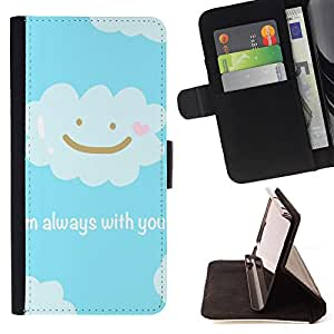 King Case - FOR Samsung Galaxy Note 3 III - always with you - Prima caja de la PU billetera de cuero con ranuras para tarjetas, efectivo Compartimiento desmontable y correa para la mu?eca