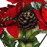 Pack-of-4-Christmas-House-7-stem-Poinsettia-Bushes-with-Pinecones-12-Red-Poinsettas