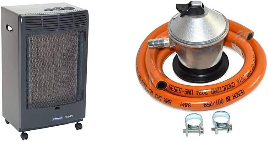 CAMPINGAZ Estufa de Gas CR 5000 Thermo Antracita, Estufa Portátil con Ruedas + S&M 321771 Regulador de Gas Butano Goma M + 2 Abraz, Gris/Naranja, 1,5 Metros de Tubo