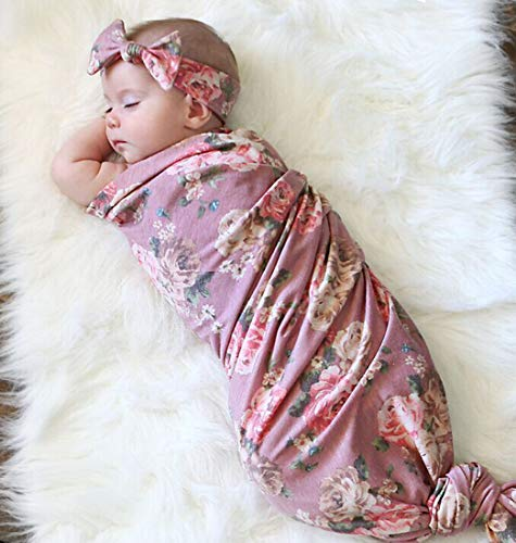 Mummyhug Baby Receiving Blanket Newborn Wrap Floral Printed Swaddle Headband Set -Spring -