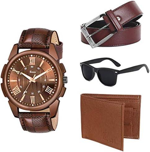Zesta Combo Pack of Brown Analog Men's Watch, a Sunglass, Wallet and a Belt (Brown)