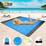 Mikikin Beach Blanket Sand Proof, Beach Mat Sand Free, Oversized Waterproof Quick Drying Ripstop Nylon Compact Sandless Beach Mat Best for Travel, Picnic, Camping, Hiking, Outdoor and Music Festivals