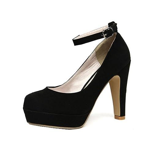 Zehui - Zapatos de tacón alto de ante sintético con plataforma y correa al tobillo, color azul, talla 3 UK
