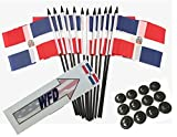 Box of 12 Dominican Republic 4''x6'' Polyester Miniature Desk & Table Flags, 4x6 Dominican Small Mini Hand Waving Stick Flags with 12 Flag Bases (Stands)