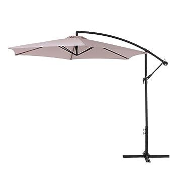 IKAYAA 3 m Ajustable Patio sombrilla jardín para Colgar Paraguas con manivela Cruz Base respiradero Parasol