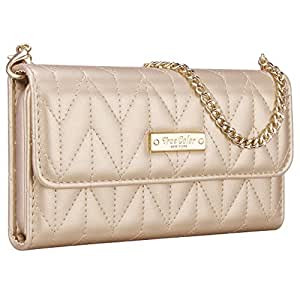 """iPhone 6 6s Wallet Case, True Color [Night Out] Premium Chevron Quilted Pattern Wallet Wristlet Purse Clutch Case Cover for iPhone 6 (4.7"""") - Gold"""