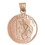 Rose Gold-plated Silver 34mm Saint Christopher Pendant Necklace
