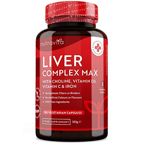 Liver Support Supplement with Choline – 10 Natural Active Ingredients – Supports Normal Liver Function – 180 Vegetarian…