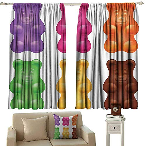 Bedroom Curtains,Children Colorful Jelly Gummy Bears Sweet Candy Food Blueberry Yummy Kids Nursery Design,Darkening Thermal Insulated Blackout,W55x63L Inches,Multicolor -