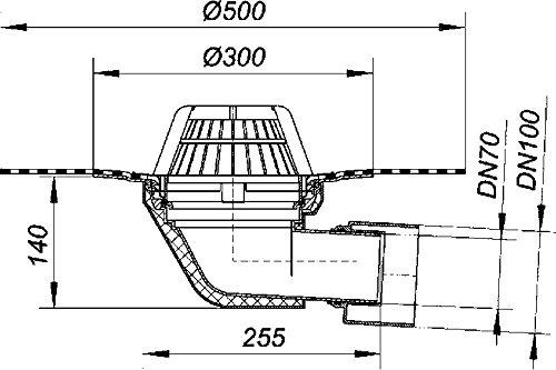 Upmann Gro/ßer Flachdachablauf DN 70//100 mit Bitumendichtungsbahn waagerecht
