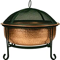 Firepits Global Outdoors 26″ Genuine Copper Fire Pit with Screen, Cover and Safety Poker firepits