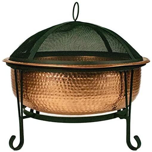 Fire Pits Global Outdoors 26″ Genuine Copper Fire Pit with Screen, Cover and Safety Poker firepits