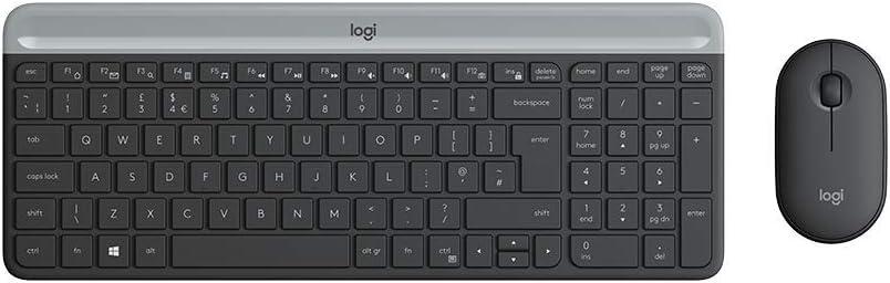 Logitech MK470 Combo Teclado y Ratón Inalámbrico para Windows, Disposición QWERTZ Alemán, Gris