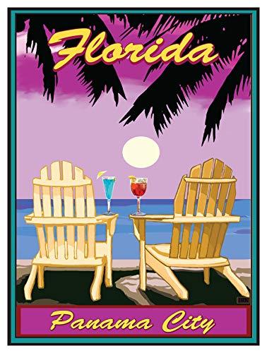 Panama City Florida Adirondack Chairs Palms Punch Giclee Art Print Poster by Joanne Kollman (9