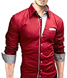 Mens Casual Slim Fit Dress Shirts Elastic Stretchy Split Years inch Junior in Party Club Night American (L, Red)