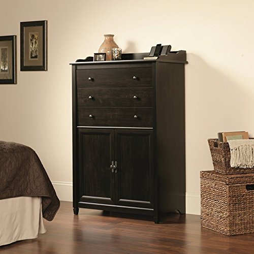 Armoire Desk with Multiple Storage Options in Your Office, Contemporary Design, One Drawer with Safety Lock and Two Cabinets, Flip-Down Work Surface, Cable Management, Home & Office Furniture