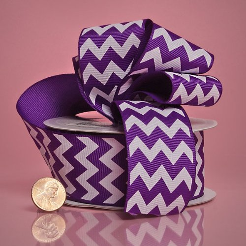 1 1/2'' X 10YD PURPLE CHEVRON GG RIBBON by Paper Mart