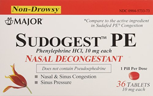 (Sudogest PE Generic for Sudafed PE Nasal Decongestant Phenylephrine HCl 10mg Tablets t 6 Packs of 36-count Total 216 Tablet)